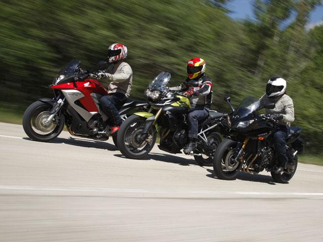 Honda Crossrunner, Triumph Tiger 800 y Yamaha Fazer 8