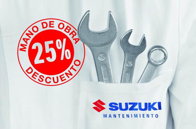 Suzuki te ofrece un descuento del 25% en la mano de obra
