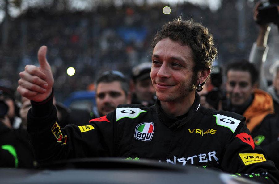 Rossi, Lorenzo y Dovizioso en el Monza Rally Show 2012