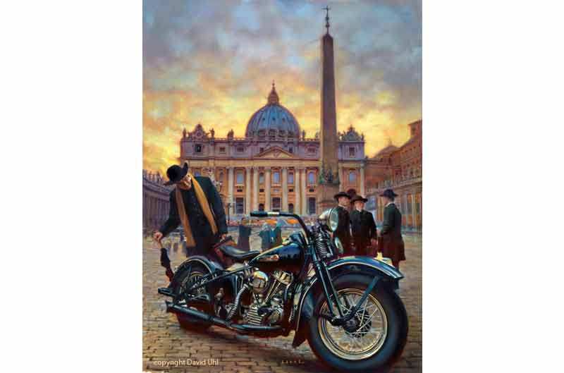 Obra de arte del 110 Aniversario de Harley-Davidson en Roma