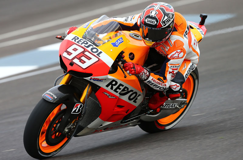 Marc Márquez domina en los últimos libres en el GP de Indy