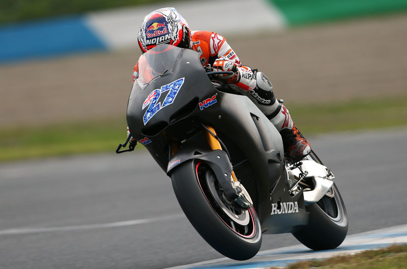 Casey Stoner prueba la Honda carreras cliente en Motegi