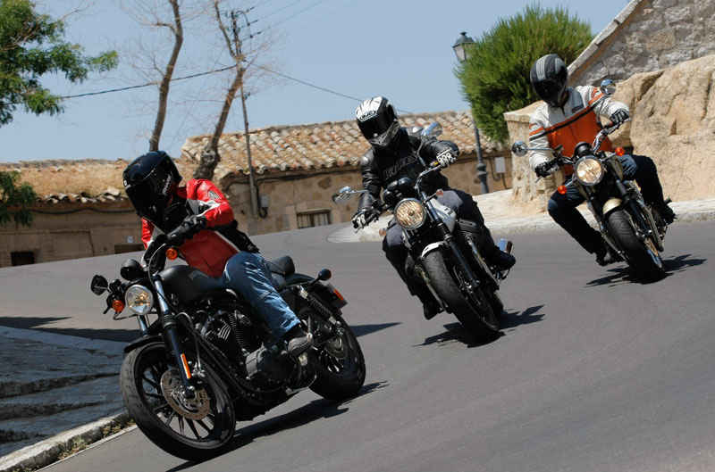 Comparativa Harley-Davidson Sportster, Moto Guzzi V7 Stone y Triumph Bonneville
