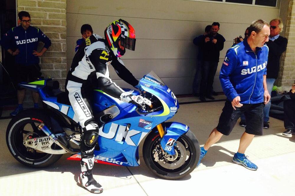 Kevin Schwantz prueba la Suzuki de MotoGP en Austin