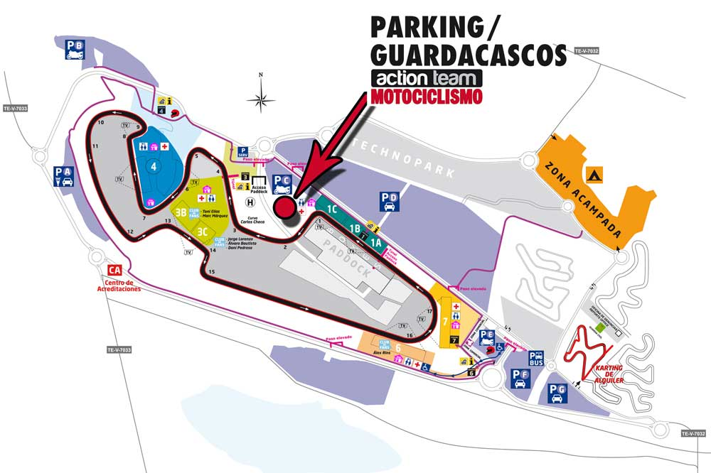 Parking y guardacascos gratis en MotorLand
