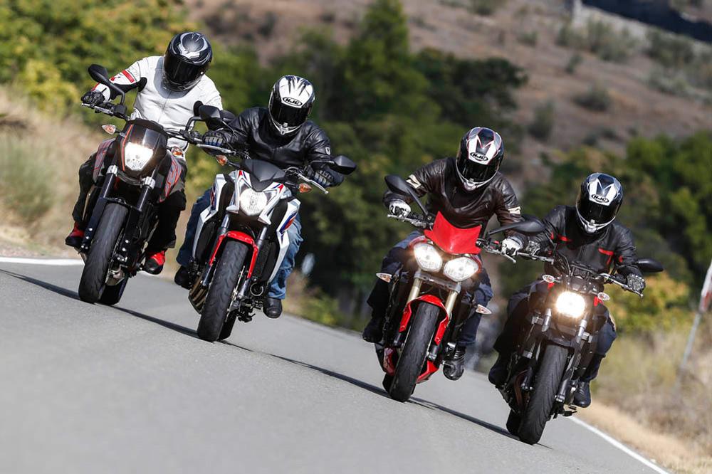 Comparativa Naked medias: Honda CB650F, KTM 690 Duke, Triumph Street Triple y Yamaha MT-07
