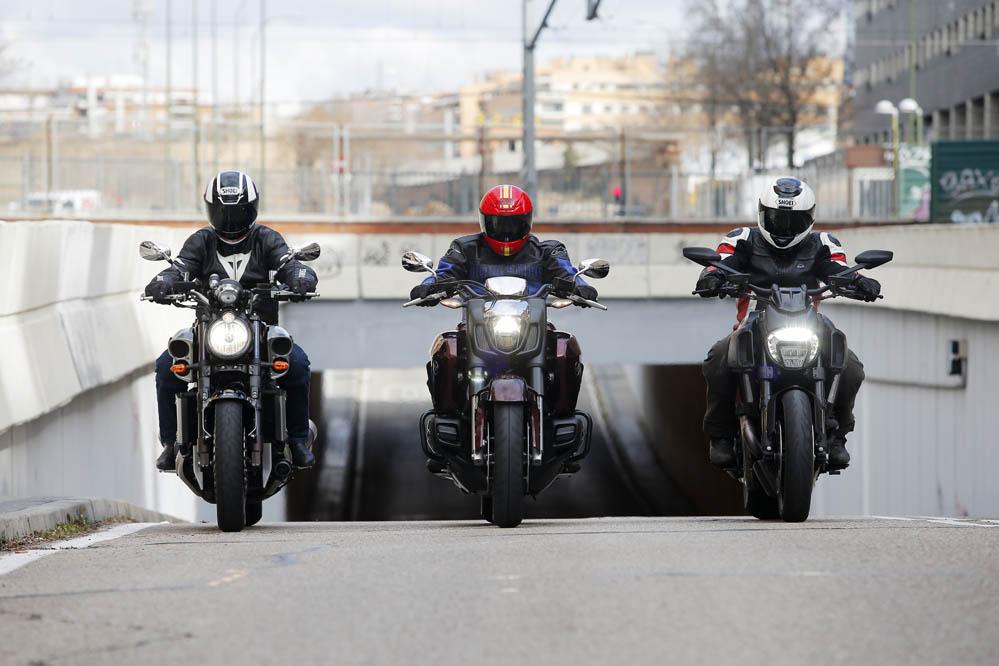 Comparativa Muscle Bikes: Ducati Diavel, Honda Gold Wing F6C y Yamaha V-Max