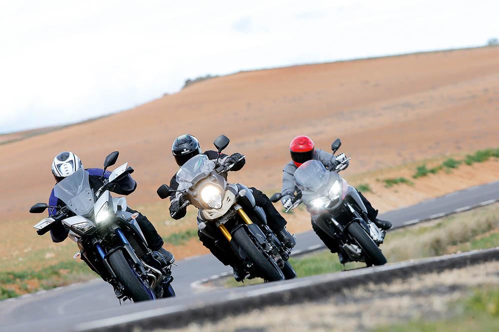 Comparativa Trail: Honda VFR800X Crossrunner, Suzuki V-Strom 1000, Yamaha MT-09 Tracer