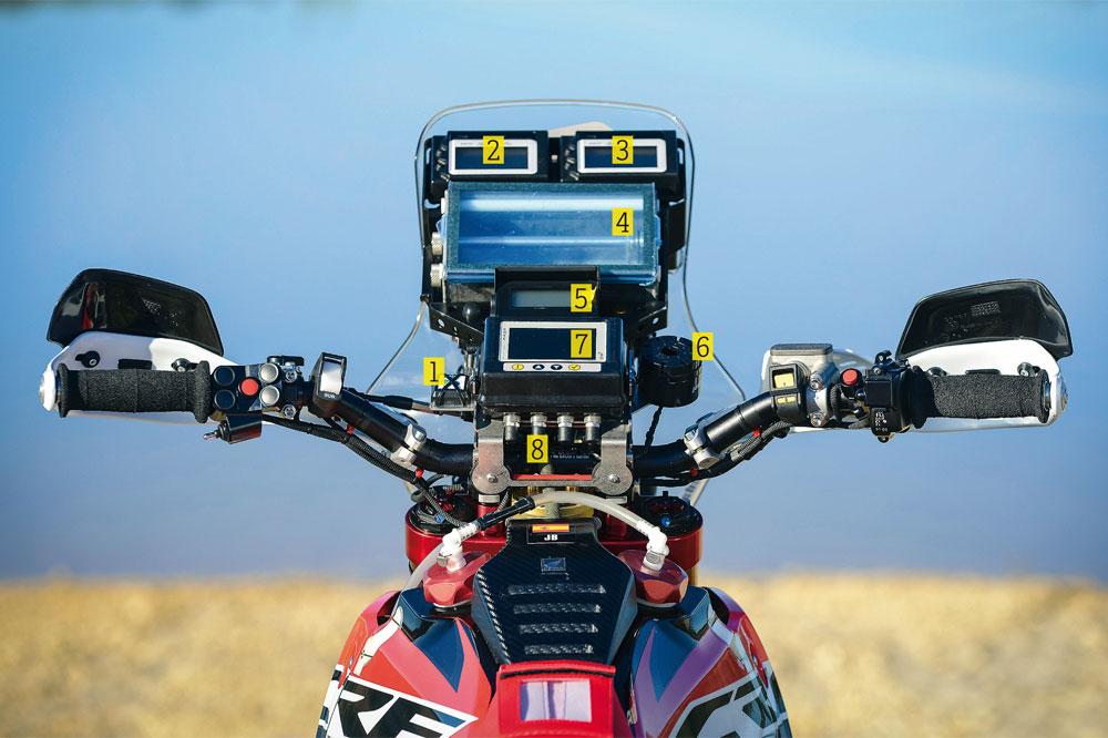La instrumentación de la Honda oficial del Dakar