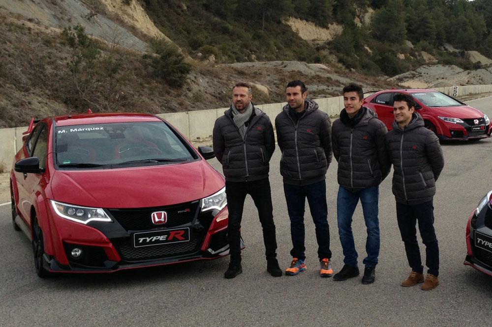 Márquez, Pedrosa, Bou y el Honda Civic Type R