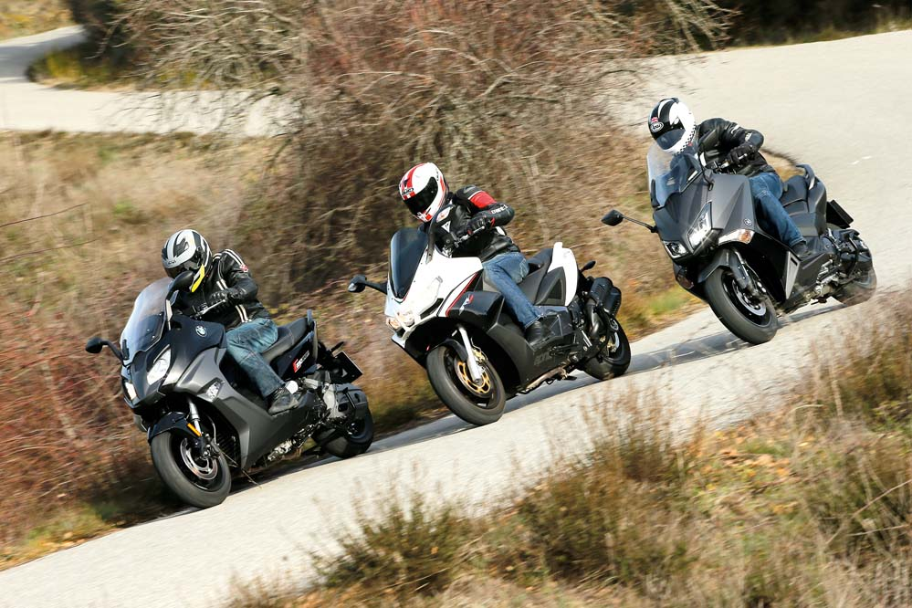 Aprilia SRV 850, BMW C 650 S y Yamaha TMAX