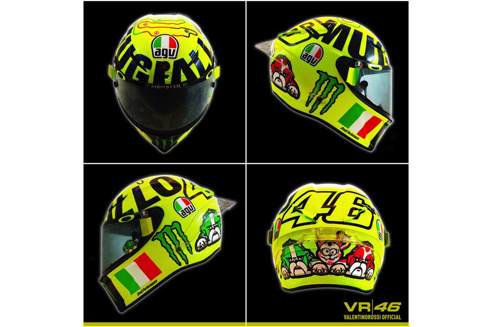 El casco de Valentino Rossi dedicado a la afición de Mugello