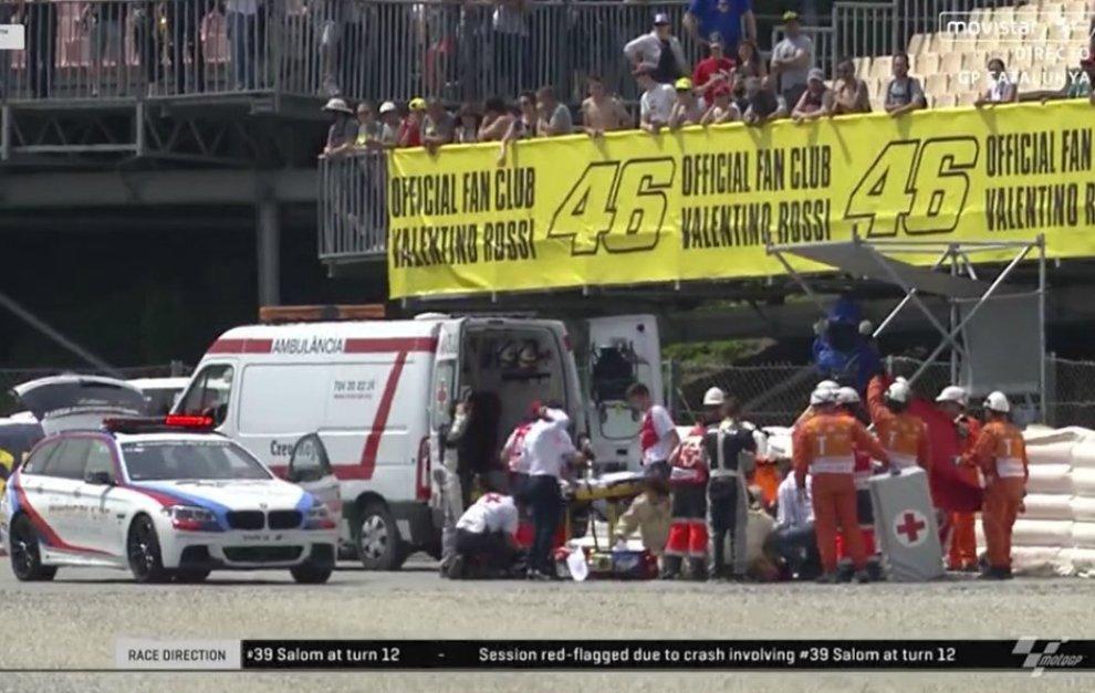 Un accidente de Luis Salom provoca la cancelación de los segundos libres de Moto2