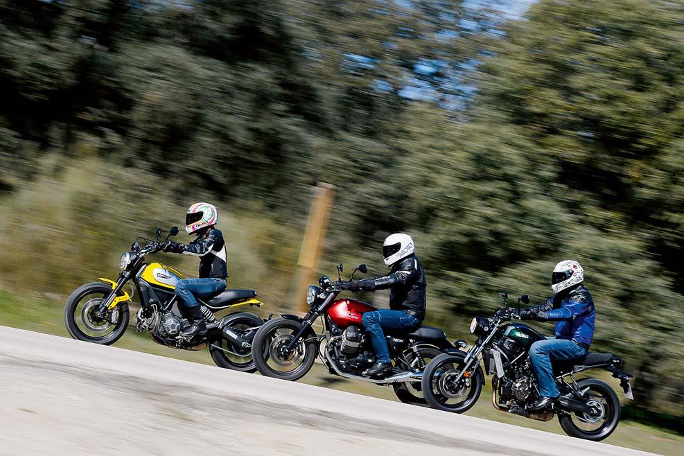 Moto Guzzi V7 II Stone, Ducati Scrambler Icon y Yamaha XSR700