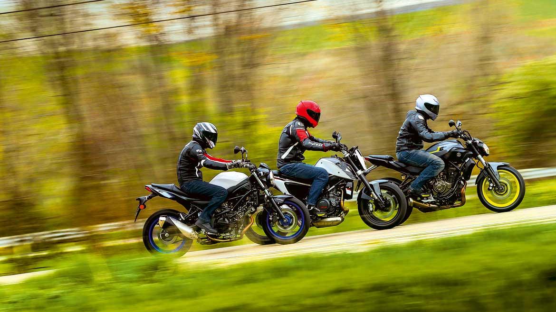 KTM 690 Duke, Suzuki SV650 y Yamaha MT-07
