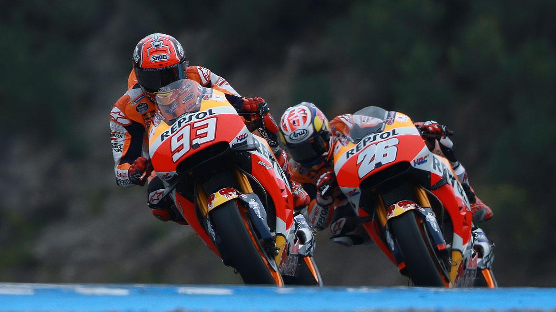 Márquez y Pedrosa siguen trabajando en el motor de 2017