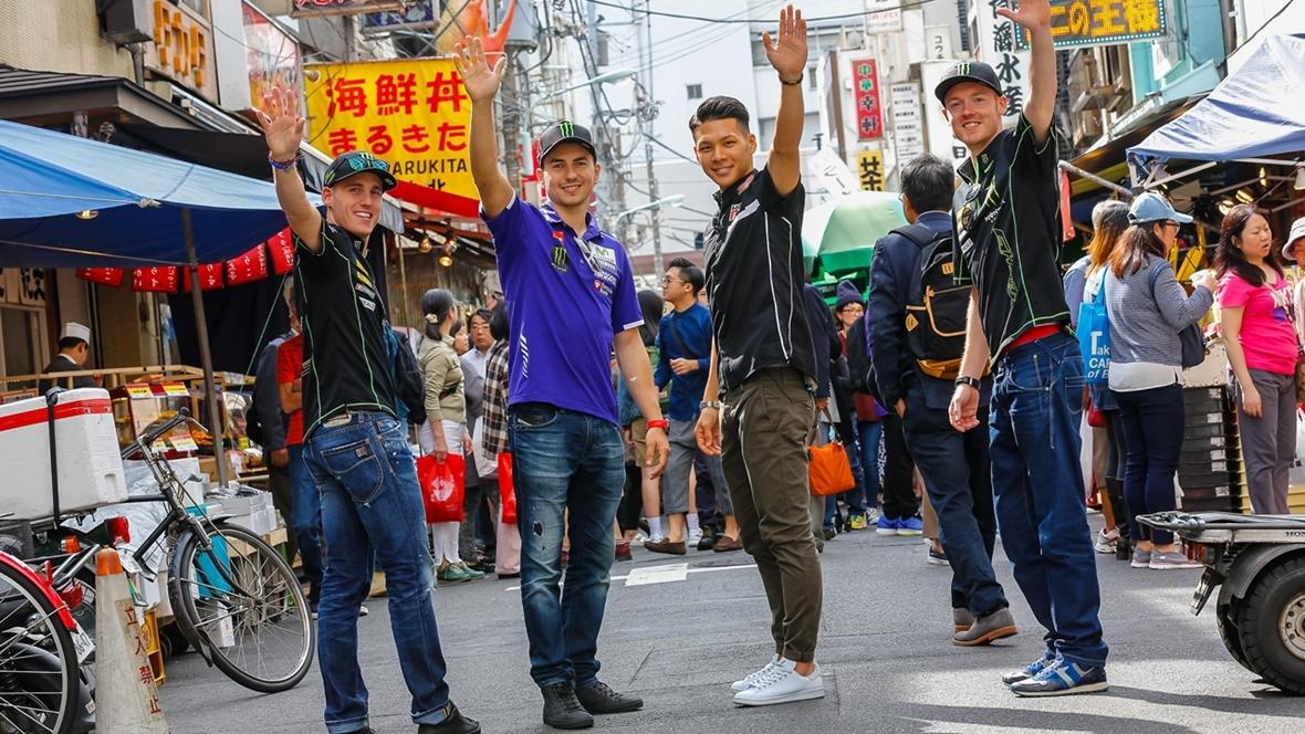 Lorenzo, Pol y Smith se van de turismo por Tokio con Nakagami de guía