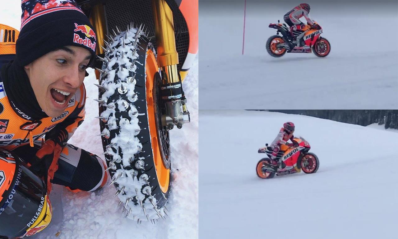 Marc Márquez mete la Honda RC213V en la nieve de los Alpes