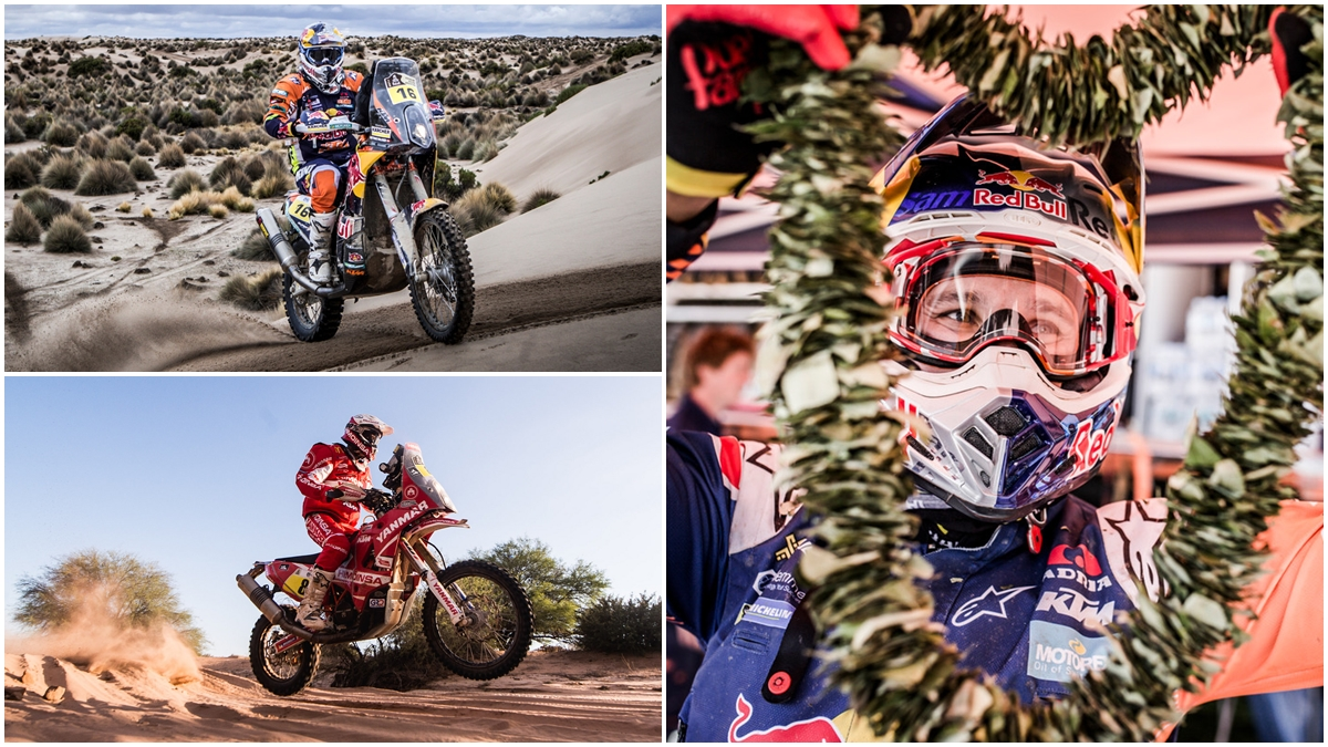Sam Sunderland, vencedor del Dakar 2017 ante Matthias Walkner y Gerard Farrés