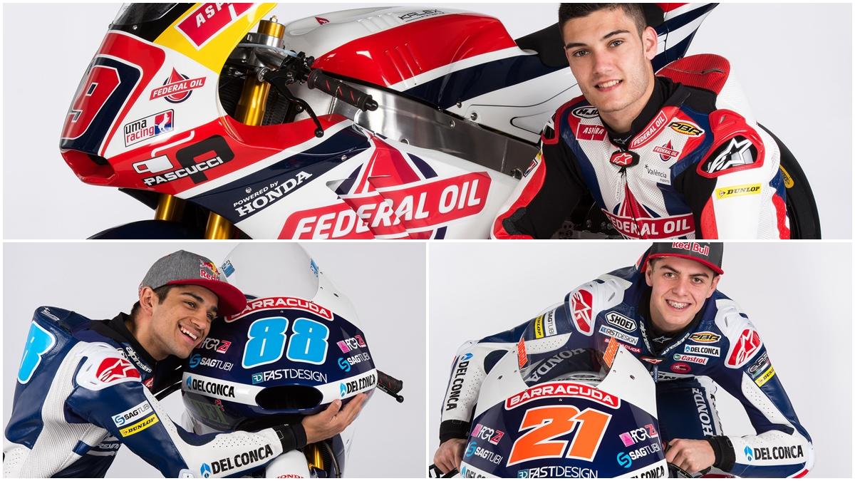 Jorge Navarro presentado por Gresini Moto2, Jorge Martín y Fabio Di Giannatonio en Moto3