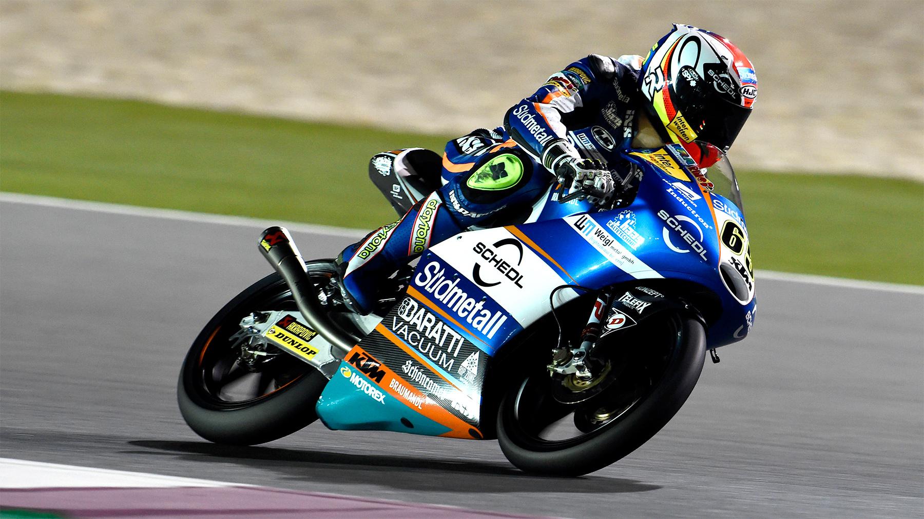 Philipp Oettl es el más rápido de Qatar en Moto3, seguido de Joan Mir y Gabriel Rodrigo