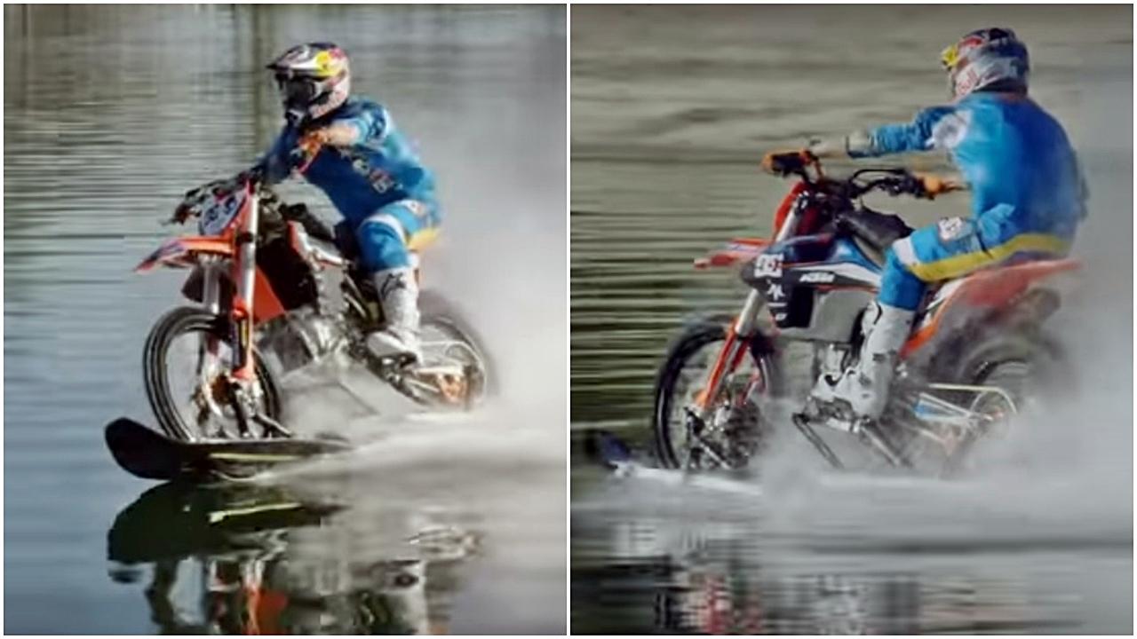 Moisés abrió las aguas… y Robbie Maddison ameriza y las surca a 93 por hora en moto