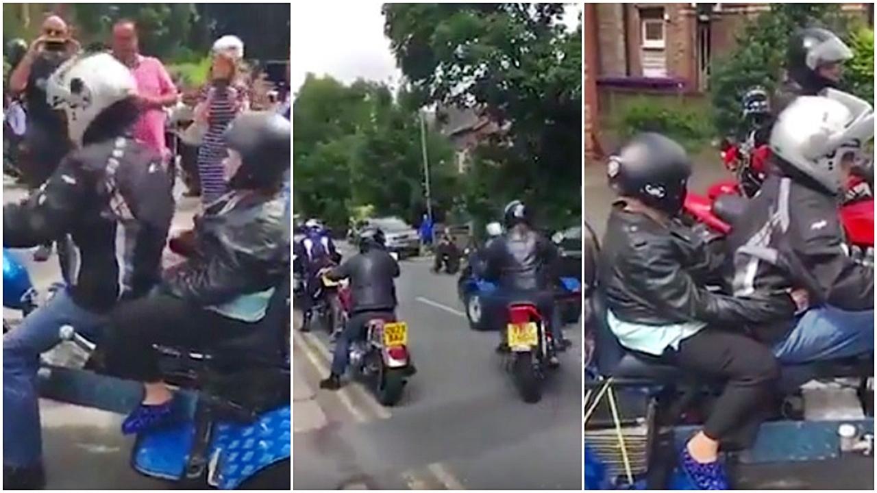 Esta señora celebró su 101 cumpleaños liderando un convoy de motos