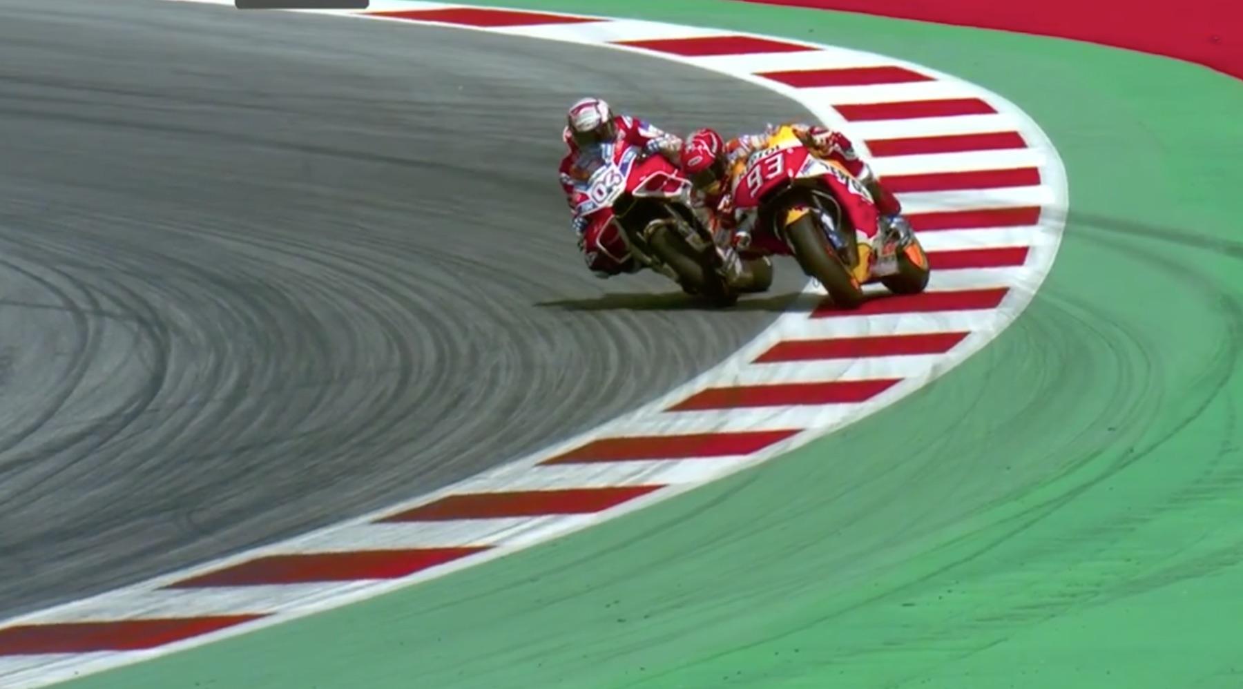 Así fue el último intento de Marc Márquez de evitar la victoria de Andrea Dovizioso