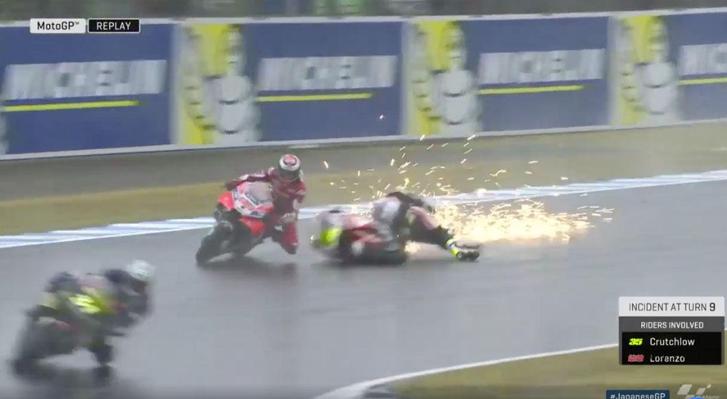 Jorge Lorenzo y Cal Crutchlow protagonizan el primer susto del GP de Japón