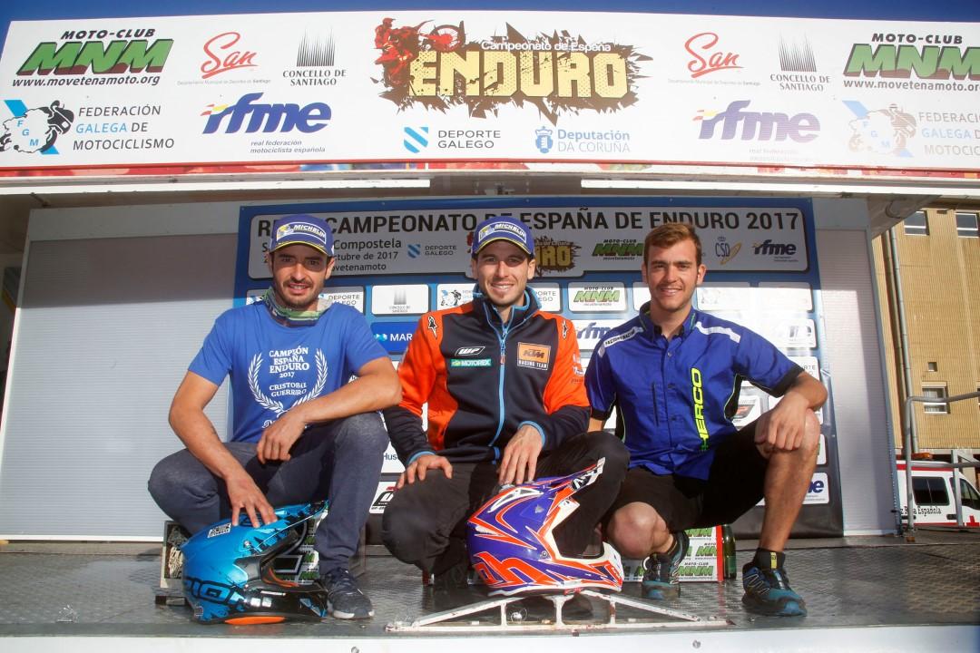 Campeones Nacional Enduro 2017: Jaume Betriu (Scratch y E3), Cristóbal Guerrero (E2) y Lorenzo Santolino (E1).