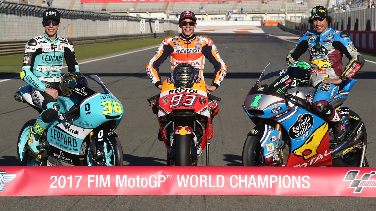 Clasificaciones finales 2017 en MotoGP, Moto2 y Moto3 (pilotos, constructores y equipos)