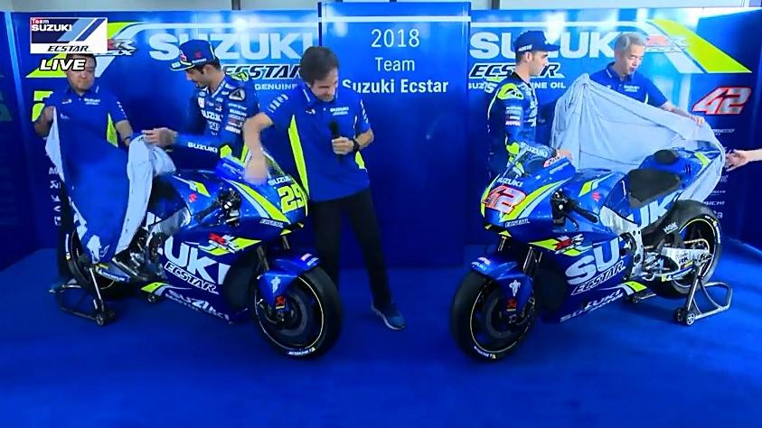 Suzuki desvela la GSX-RR para MotoGP 2018 con Andrea Iannone y Álex Rins