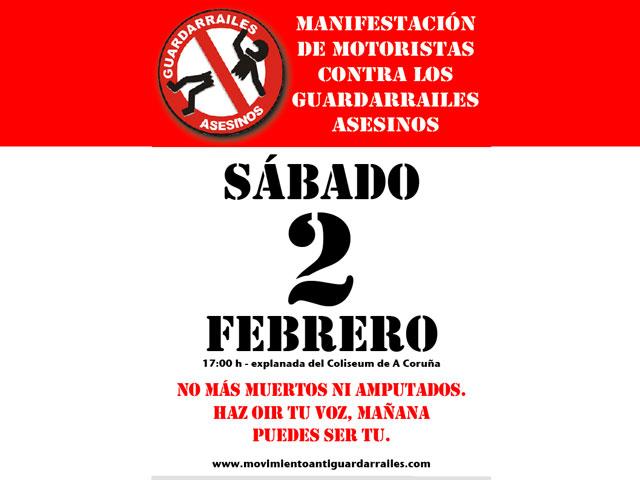 Manifestación contra los guardarraíles en La Coruña
