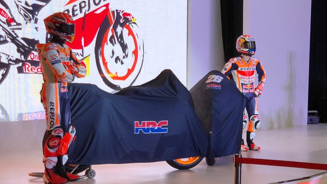 Marc Márquez y Dani Pedrosa presentan las dos Honda RC213V para MotoGP 2018