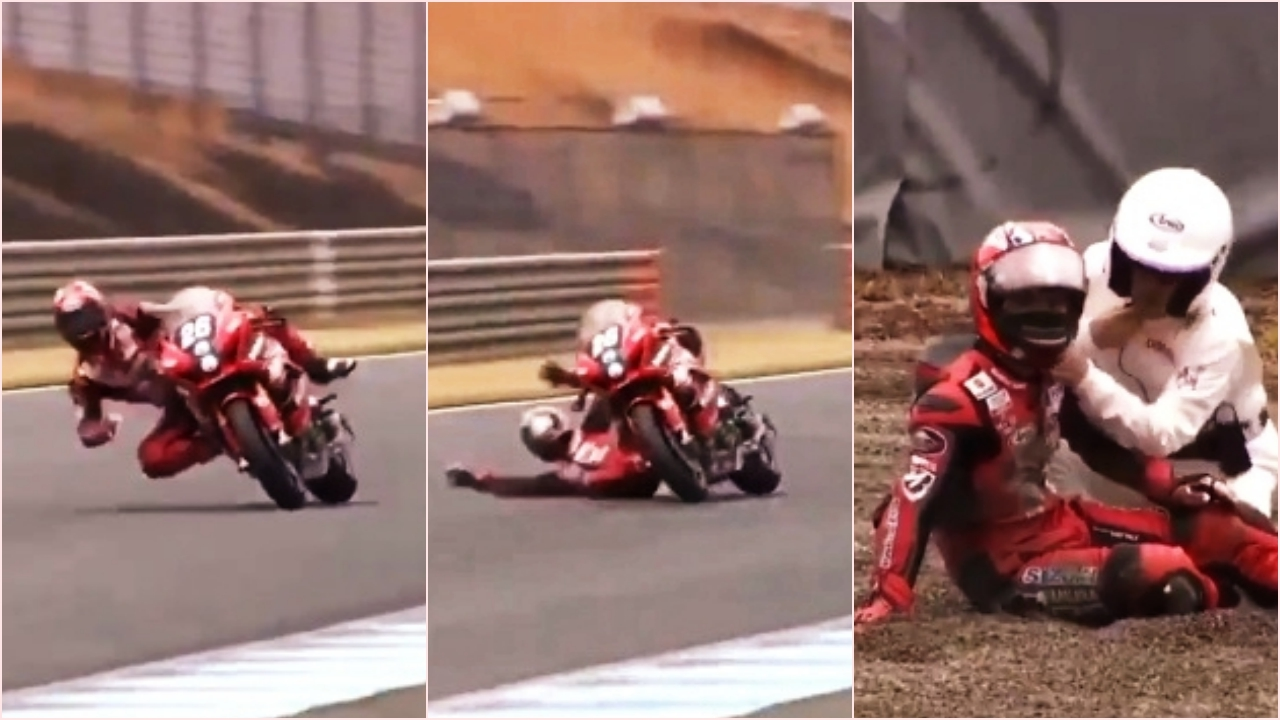 Vídeo: Kazuki Watanabe se queda sin frenos, se tira de la moto a 200 km/h y sale ileso
