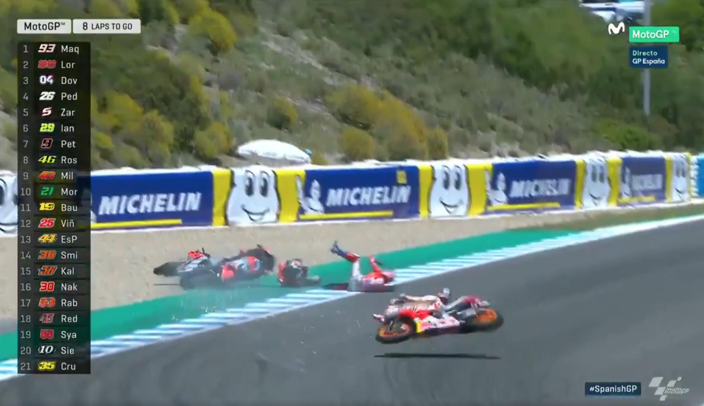 Así ha sido el incidente entre Jorge Lorenzo, Dani Pedrosa y Andrea Dovizioso