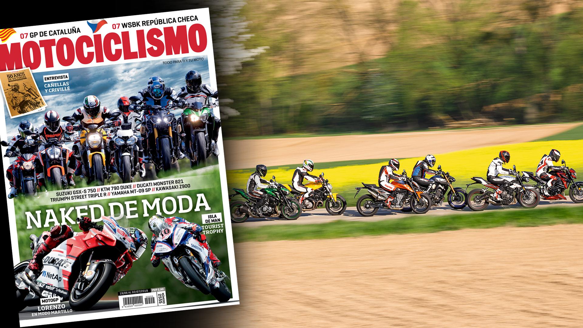 Comparativa Naked medias, el TT y el GP de Cataluña en la portada de MOTOCICLISMO