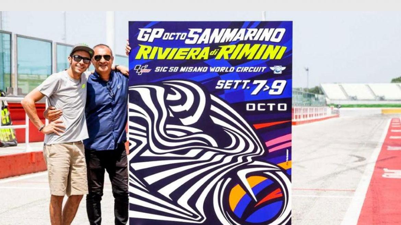Valentino Rossi y Aldo Drudi presentan el póster del GP de San Marino