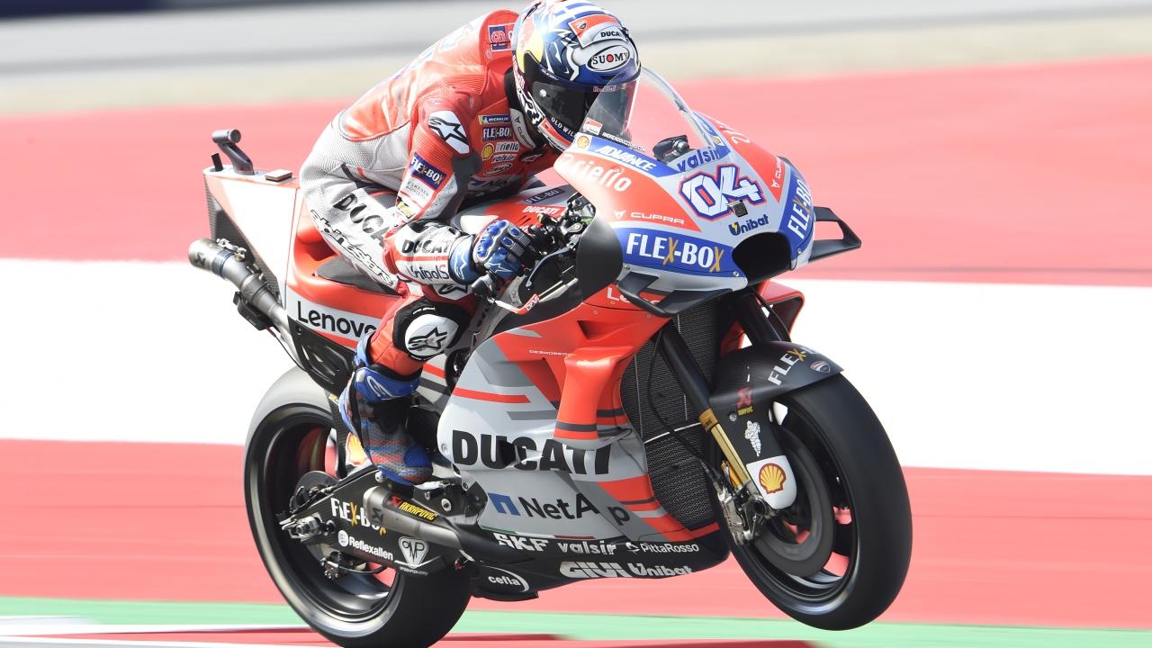 Andrea Dovizioso lidera MotoGP en seco y Marc Márquez en mojado en Austria