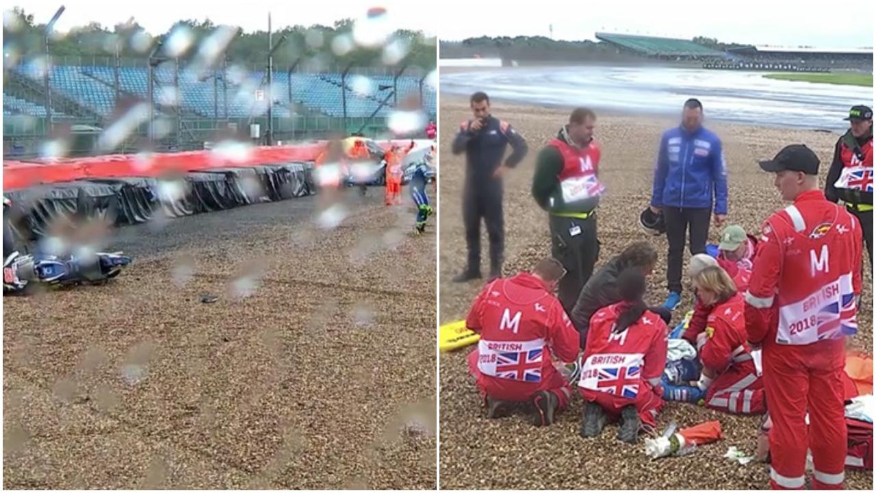 Tito Rabat se fractura la pierna al ser impactado por otra moto tras caerse