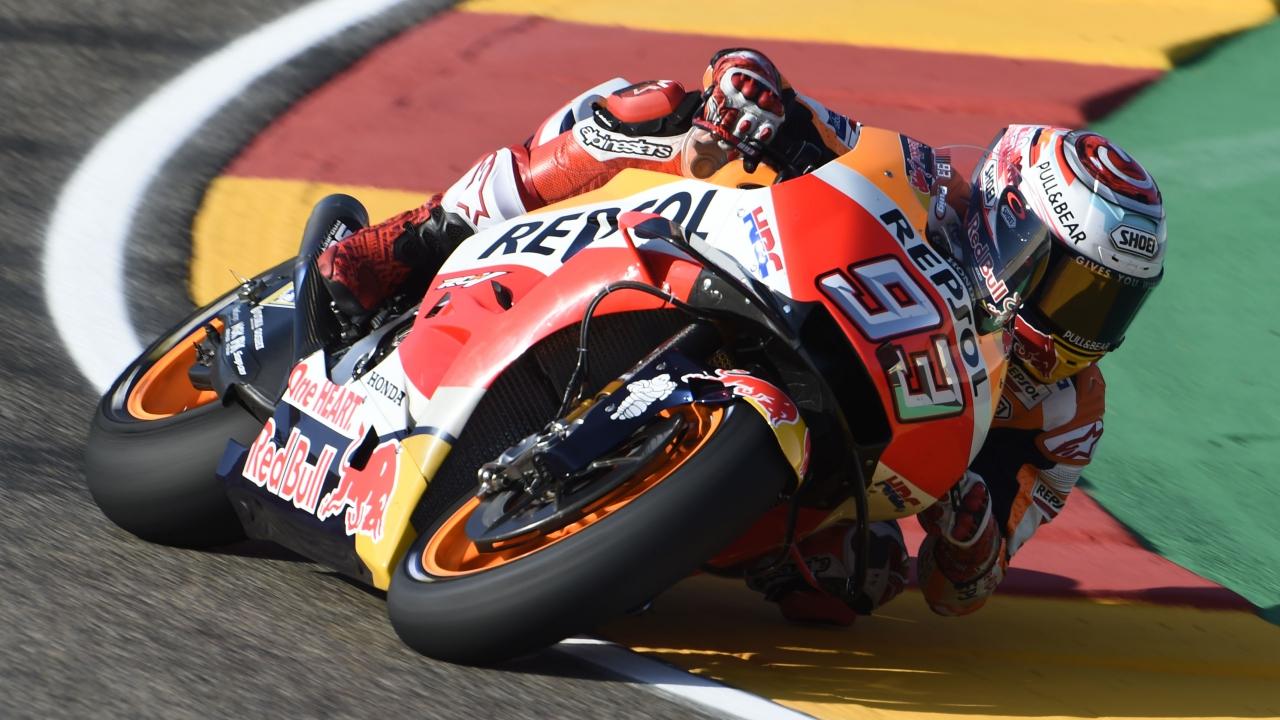 Marc Márquez lanza un aviso a las Ducati en los libres de MotoGP en Motorland Aragón