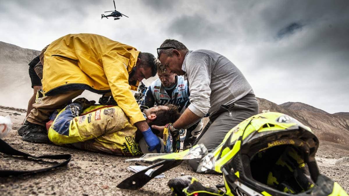 Dakar 2019: Lorenzo Santolino tiene la vértebra C6 fisurada y seis costillas rotas