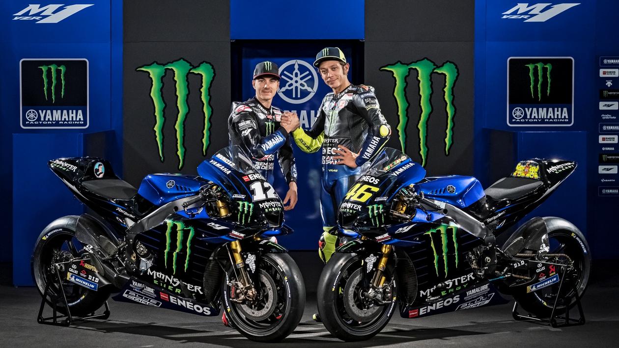 La Yamaha YZR-M1 MotoGP 2019 de Valentino Rossi y Maverick Viñales se viste de negro