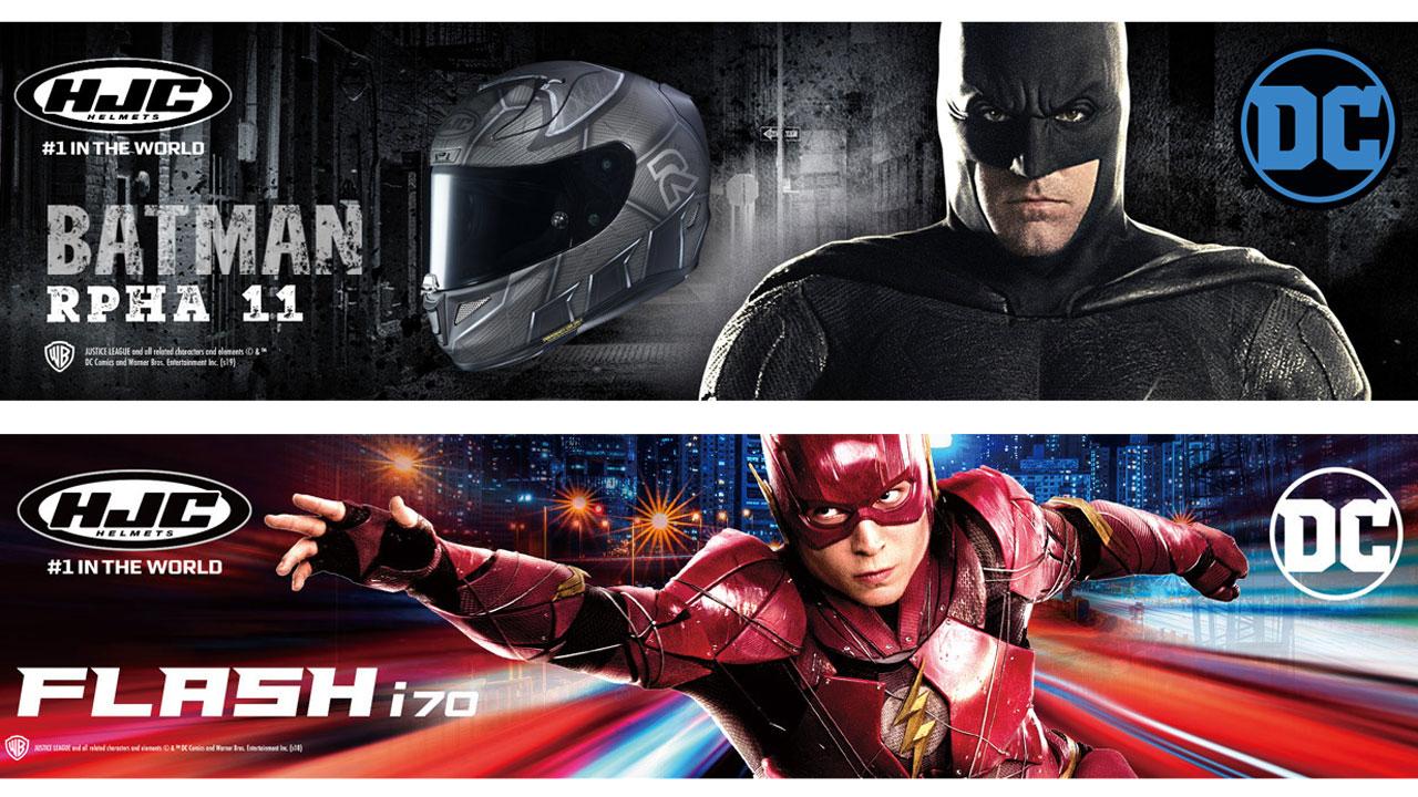 Nuevos cascos HJC con gráficas de Batman y Flash