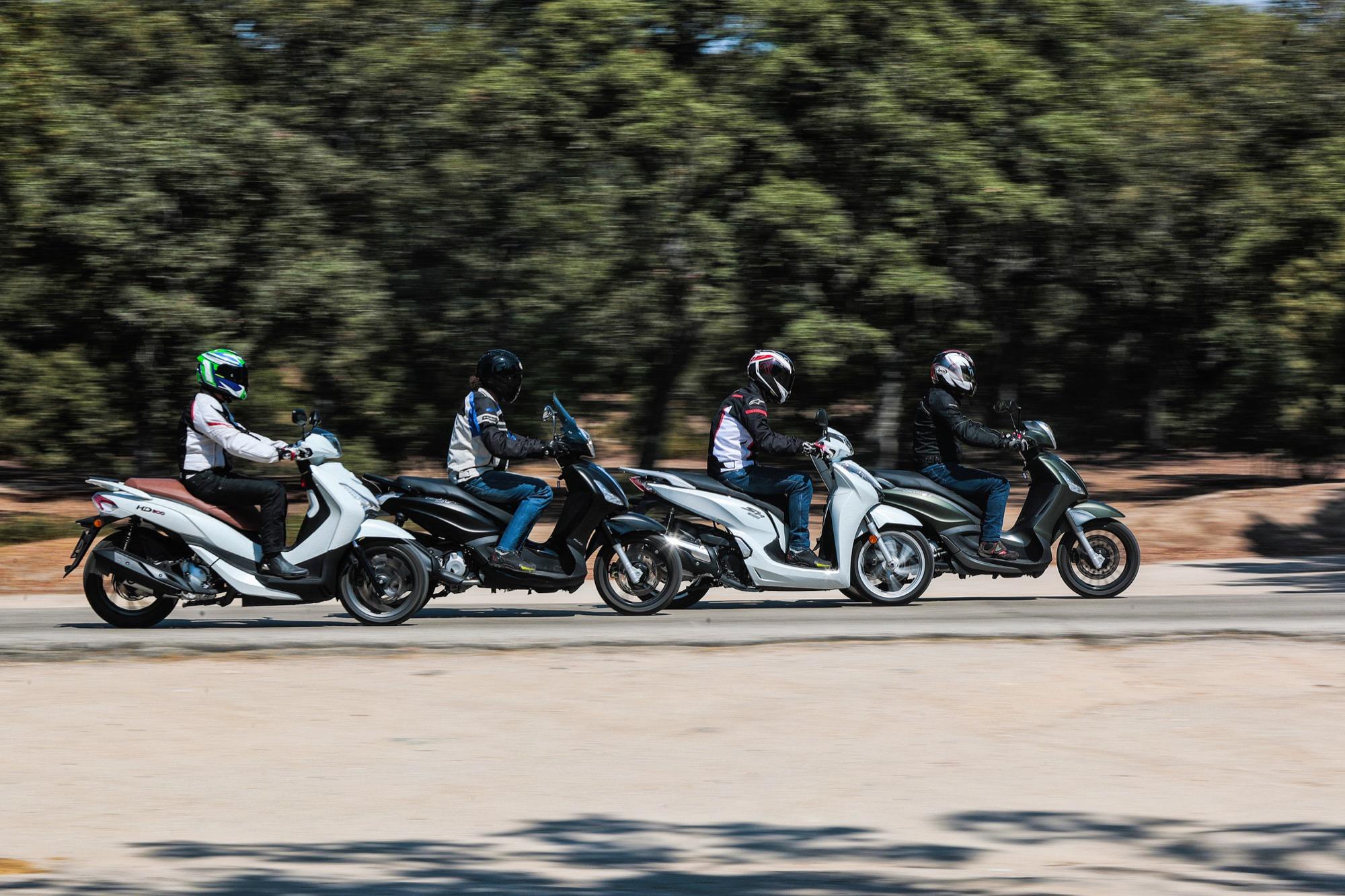 Comparativa Scooters: Honda SH300i vs. Piaggio Beverly 300/350 vs. SYM HD 300