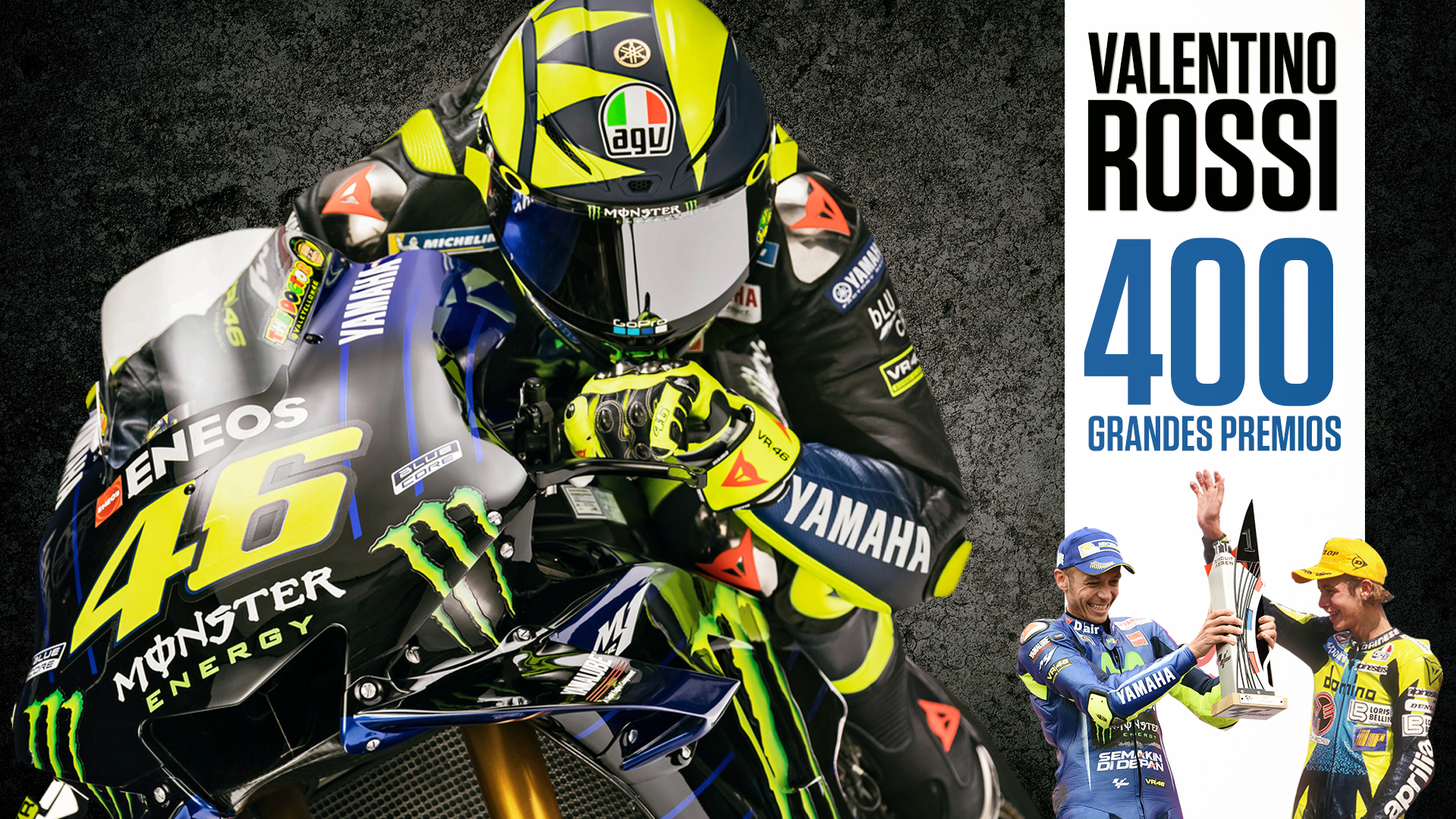Los 400 grandes premios de Valentino Rossi: posiciones, circuitos, motos y rivales