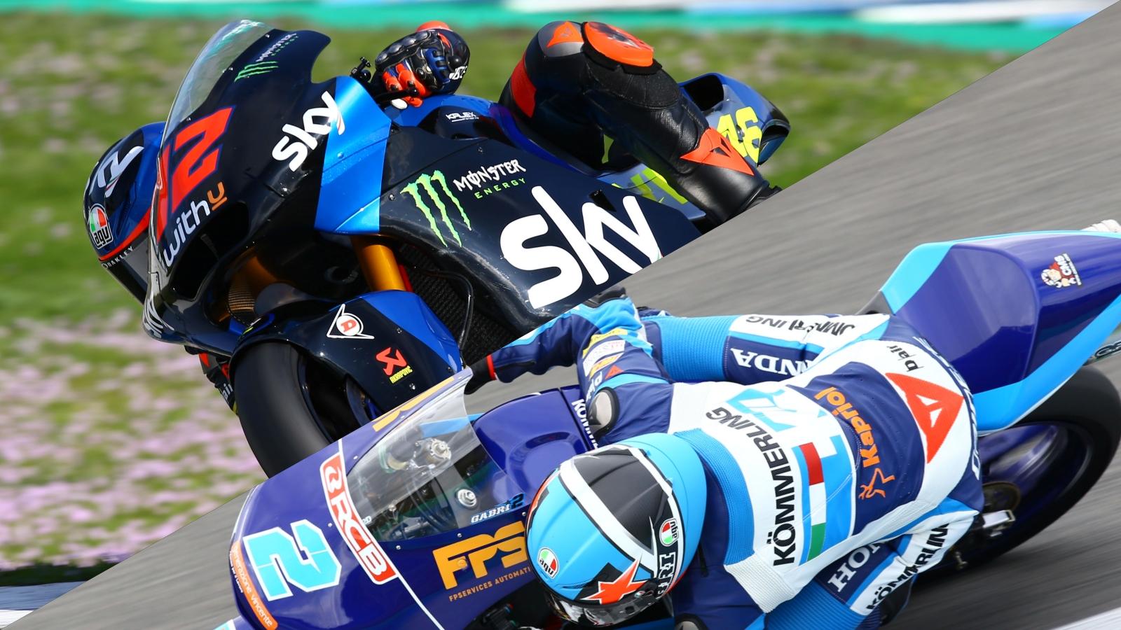 Marco Bezzecchi y Gabri Rodrigo lideran el segundo día de Moto2 y Moto3 en Jerez