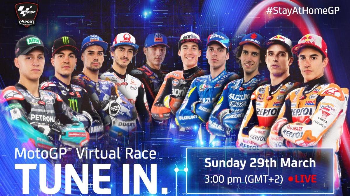 MotoGP anuncia todos los pilotos del GP Quédate En Casa, la primera Carrera Virtual