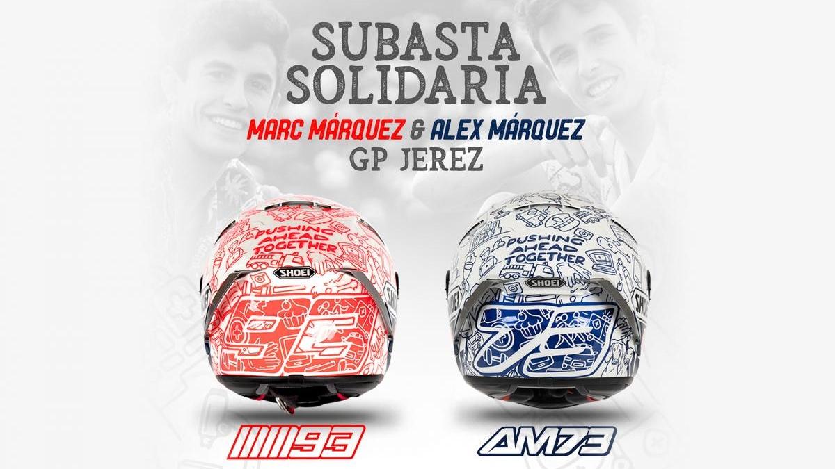 Marc Márquez y Álex Márquez presentan sus cascos de homenaje al confinamiento para Jerez