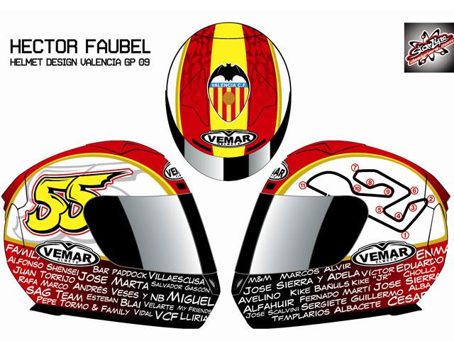El casco de Héctor Faubel en Cheste